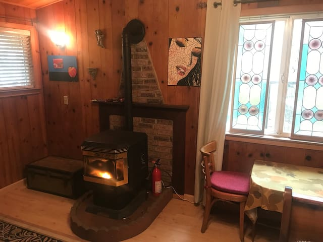 A pellet stove warms up room quickly.