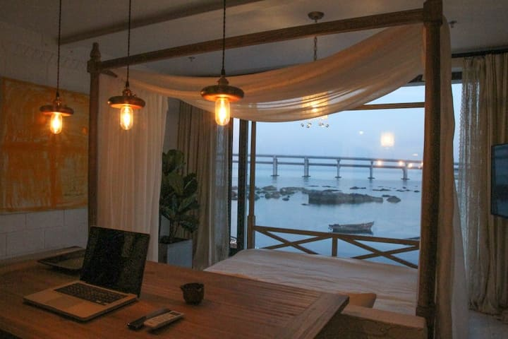 野海美宿 301全海景大落地窗 温馨浪漫大床房 距离大海12米