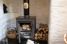 We love the woodstove and you will have plenty of logs to use