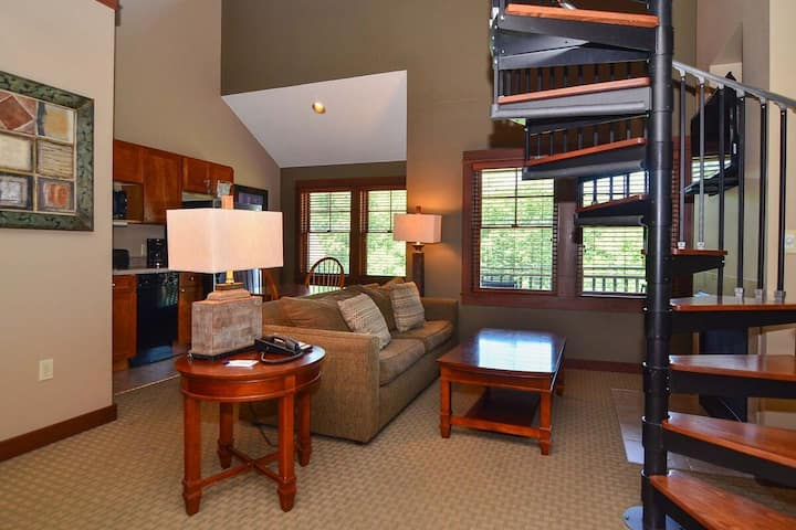 A315- Studio & Loft suite w/ lake view, includes free WiFi & fireplace!