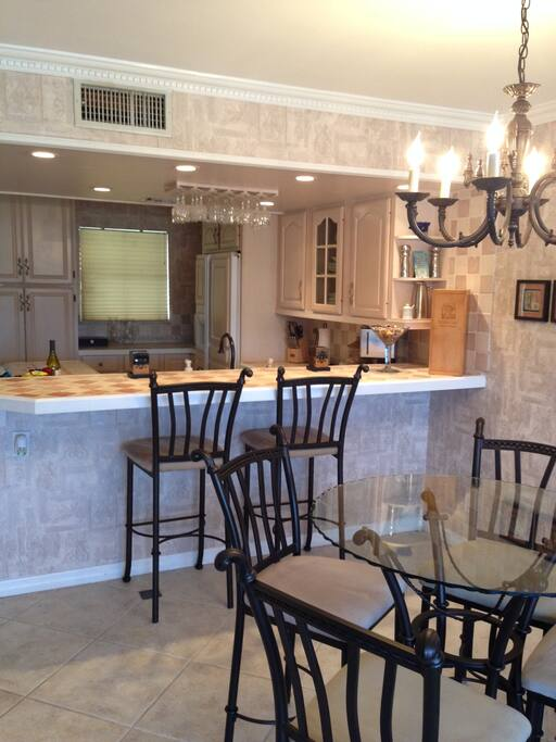Large kitchen with island and seating.
