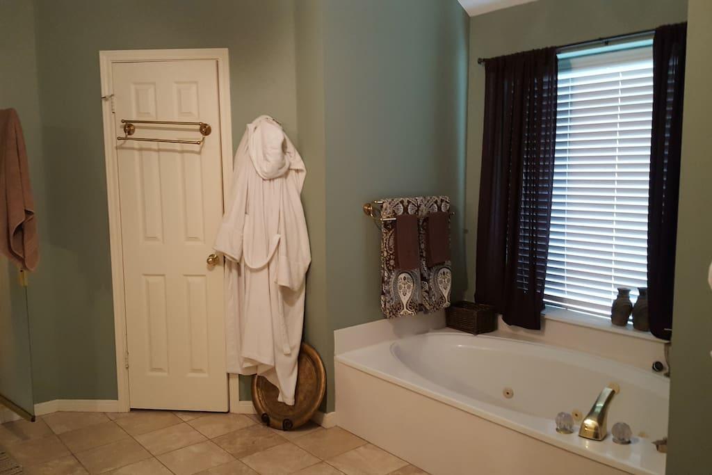 Master bath, garden tub and shower