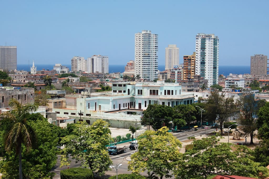 View of Havana city and the Malecon from Retiro de Giselle
