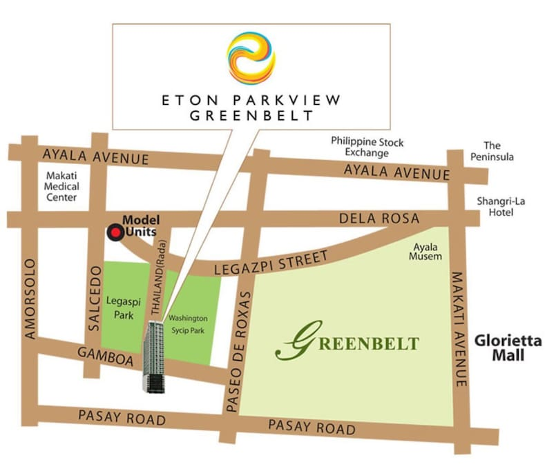 Perfect location in Makati. In the heart of the Business District of Makati and near shopping malls