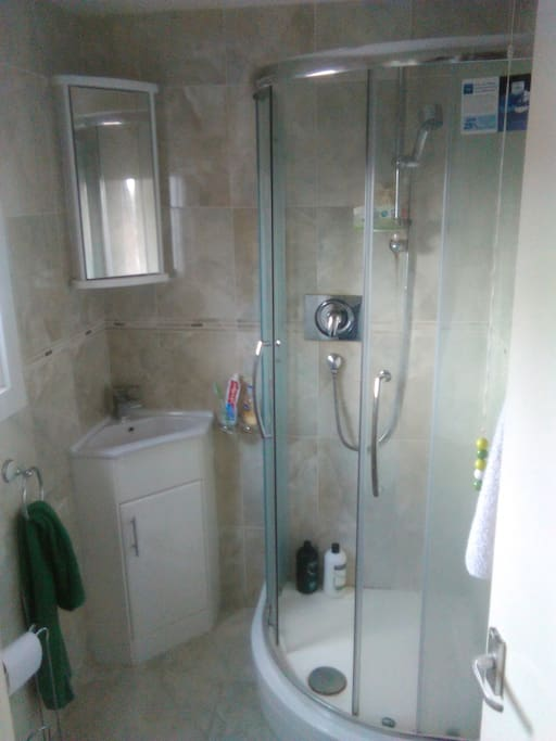 The secondary bathroom   with shower