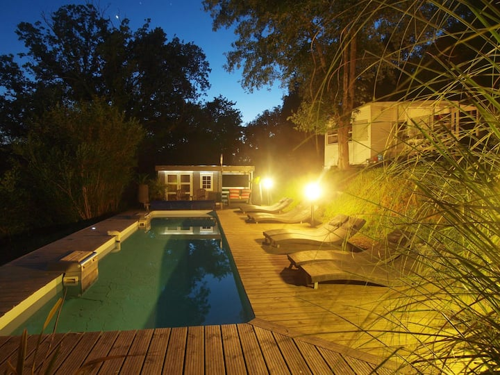 Riverside Chalet nr Biarritz with heated pool