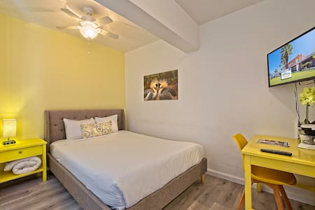 Each of our rooms is a little different. This one has yellow tones, others have blue, green, pink, or purple highlights in the room.