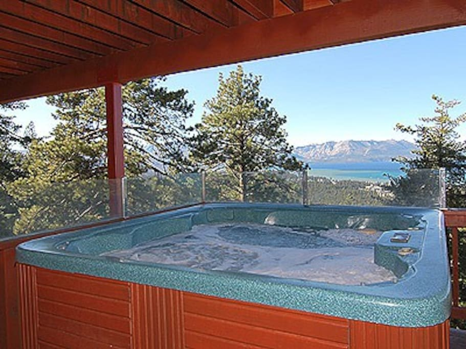 Enjoy Tahoe Sunsets over the Lake from the Hot Tub!