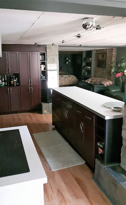 Distinct kitchen, living, and sleeping areas