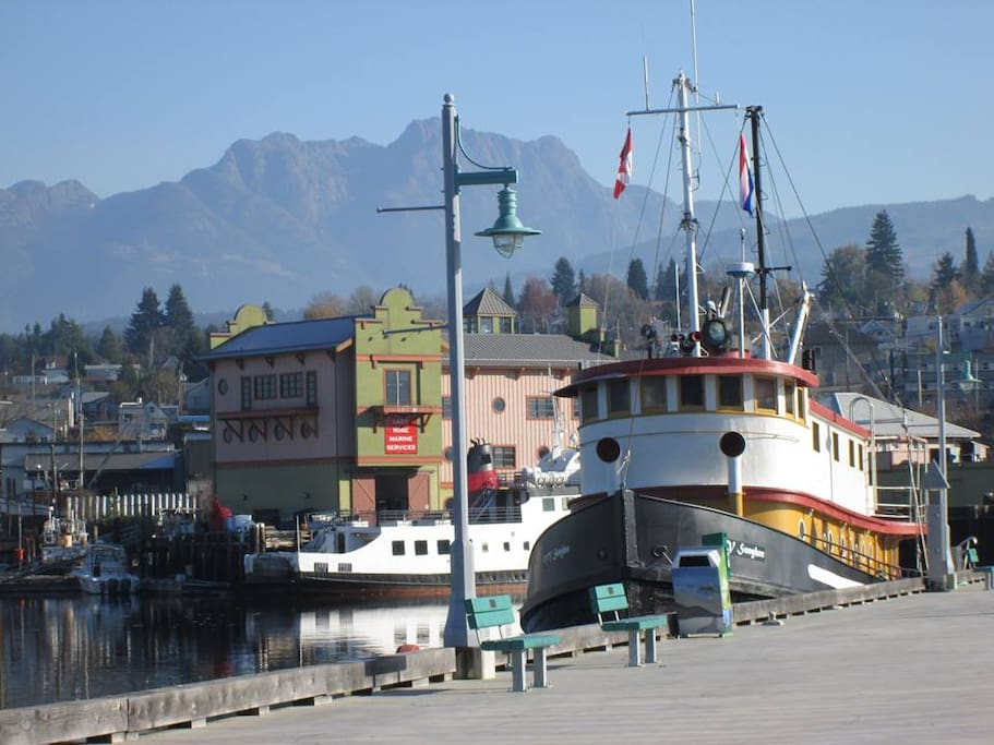 Moored at the new Centennial Pier in the heart of Port Alberni.