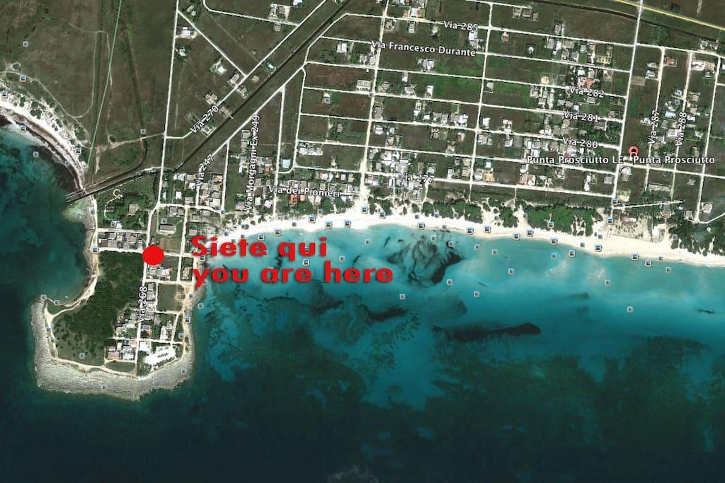 La Posizione nella penisola di Punta Prosciutto