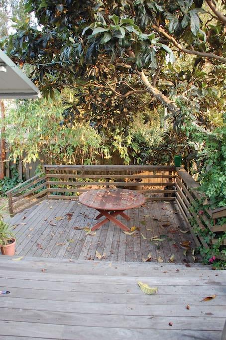 Back deck, great for breakfast or dinner