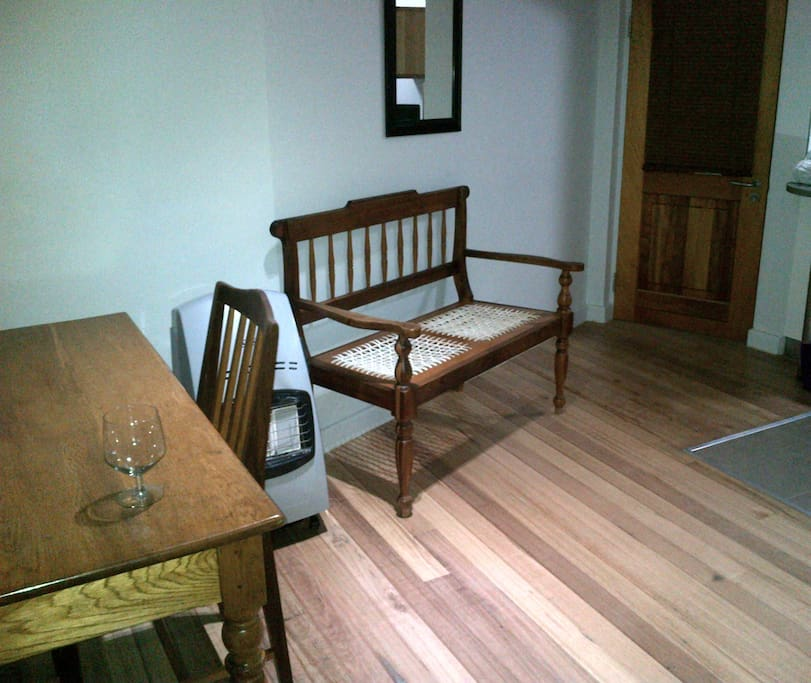 Private entrance and comfortable dining area.