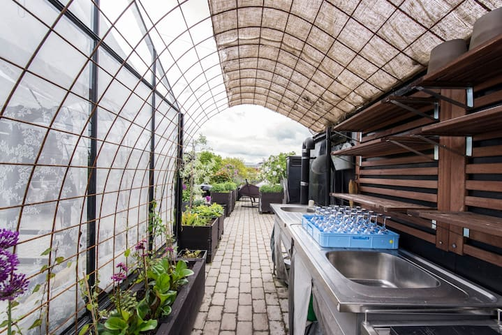 Uniqe roof terass with green house