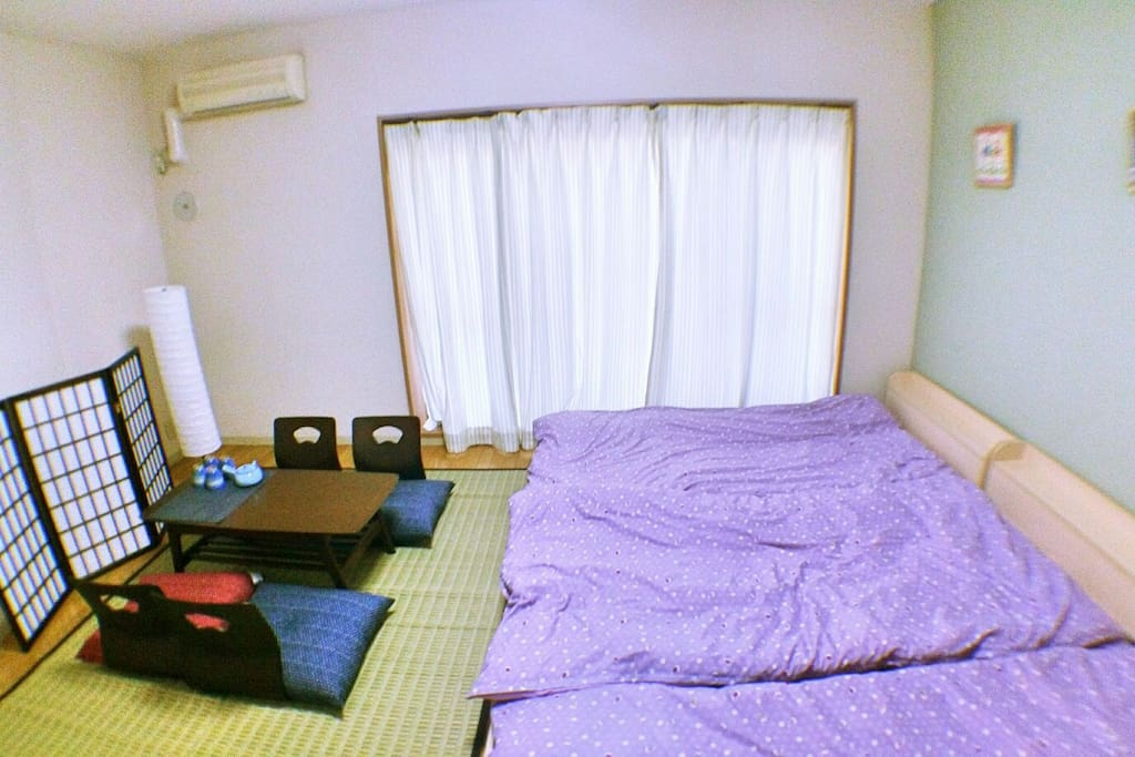 We provide 3 single size bed and extra futon set. up to 4people can be accommodated in this apartment.
