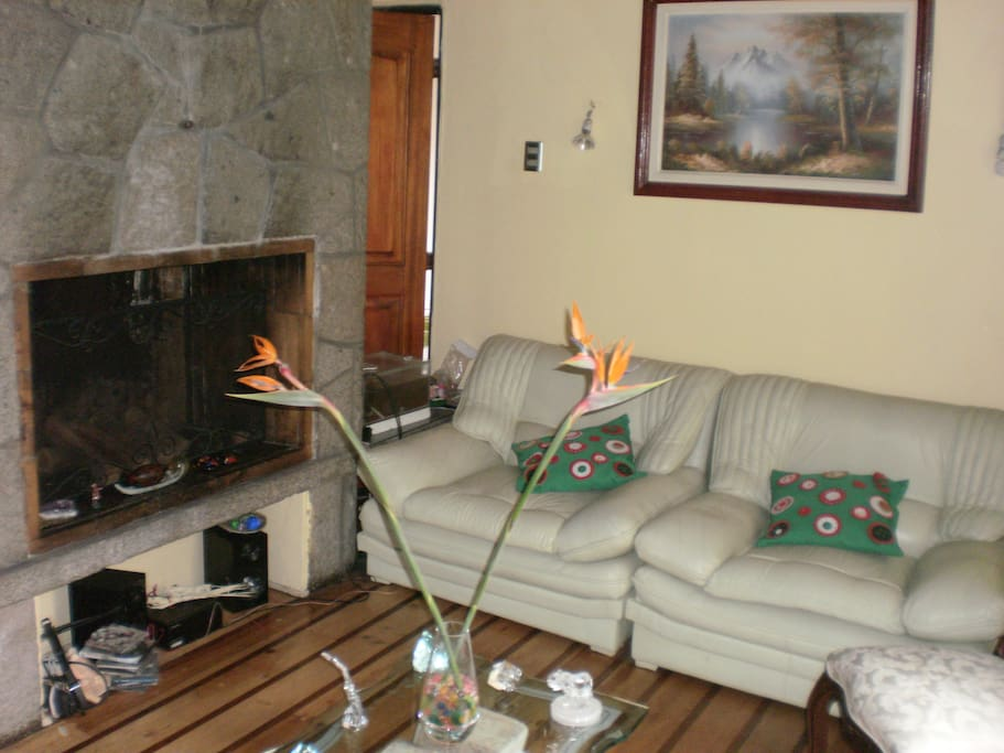Amplia sala de estar con chimenea de roca.