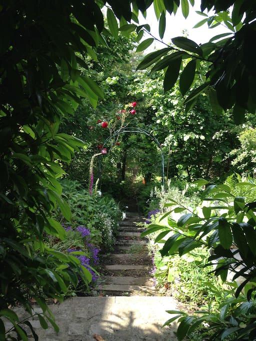 un jardin luxuriant descendant vers la voie ferrée au loin