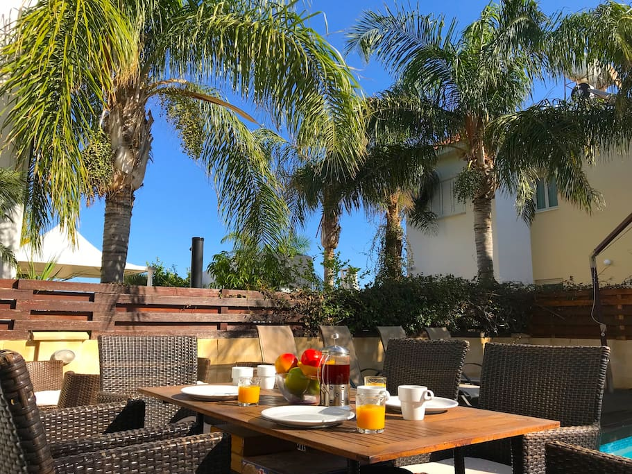 Breakfast on the decked patio.