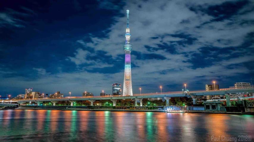 3min to Asakusa by train;4min to Skytree by walk