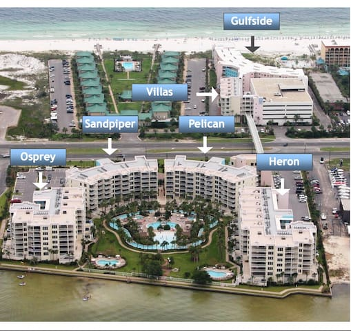 Destin West Beach and Bay Resort. Our unit is #502 in the Villas Building.