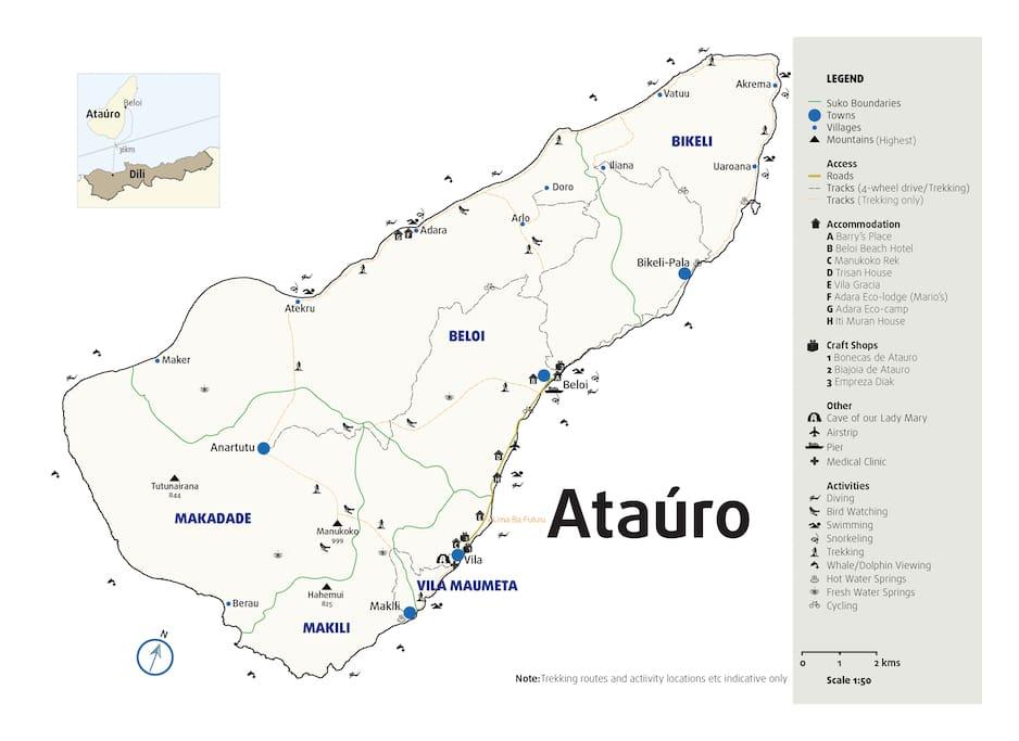 Map of house location on Ataúro island