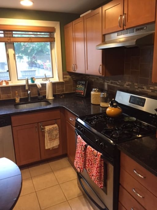 gas stove, dish washer, kitchen stuffs