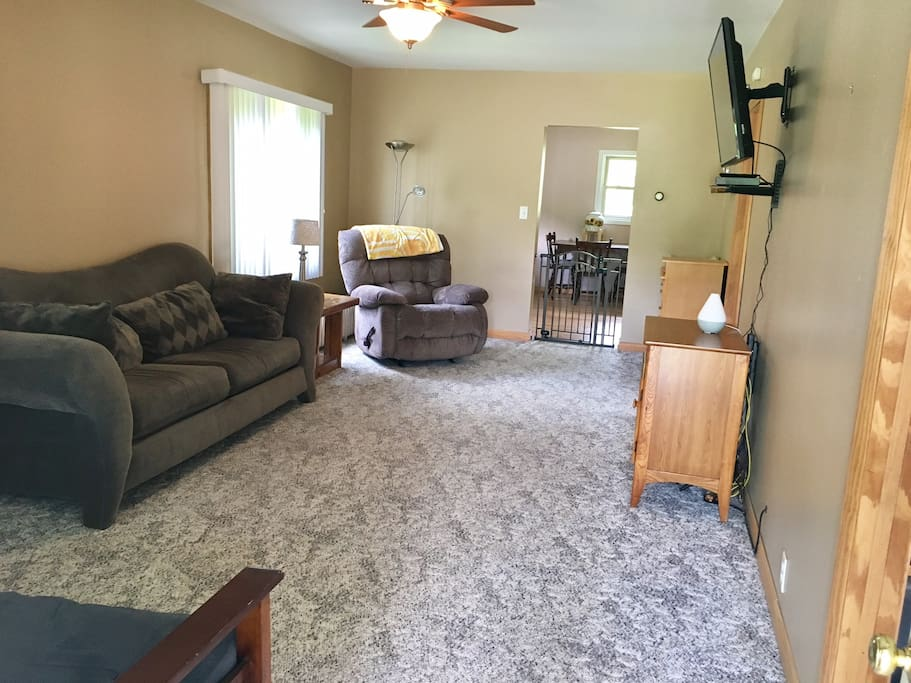 Walking in the front door. There is an enclosed porch area great for kicking off your shoes. There is WiFi & the TV has Netflix, Hulu & iHeart radio.