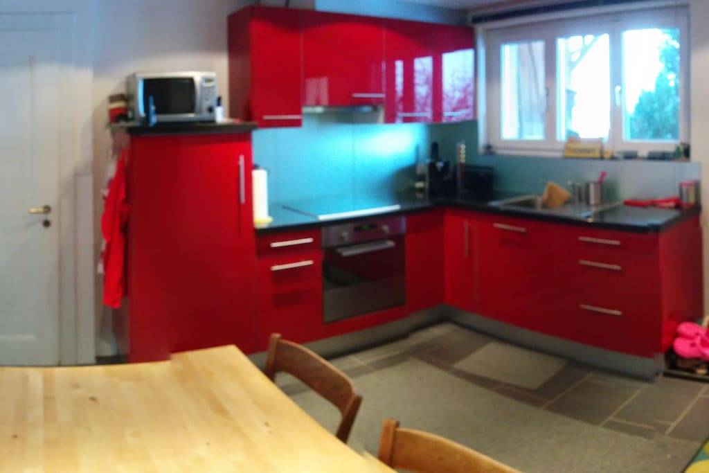 Küche mit Glaskeramikherd, Backofen, Mikrowelle Kühlschrank