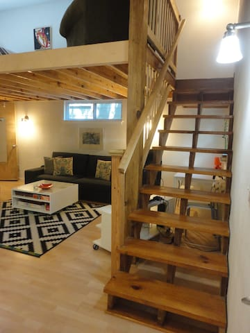 Stairs to the loft bedroom.