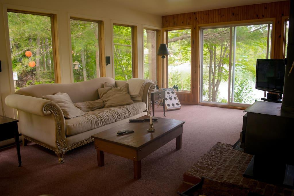 Salon avec foyer à combustion lente,entouré de fenêtres