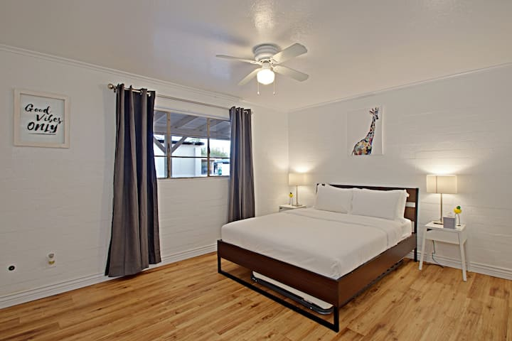 Bedroom from one available unit; see our listing link to view each unit in this complex!