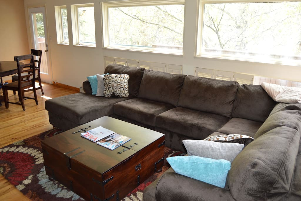 Large and comfortable microfiber couch in living room, windows let in lots of natural light