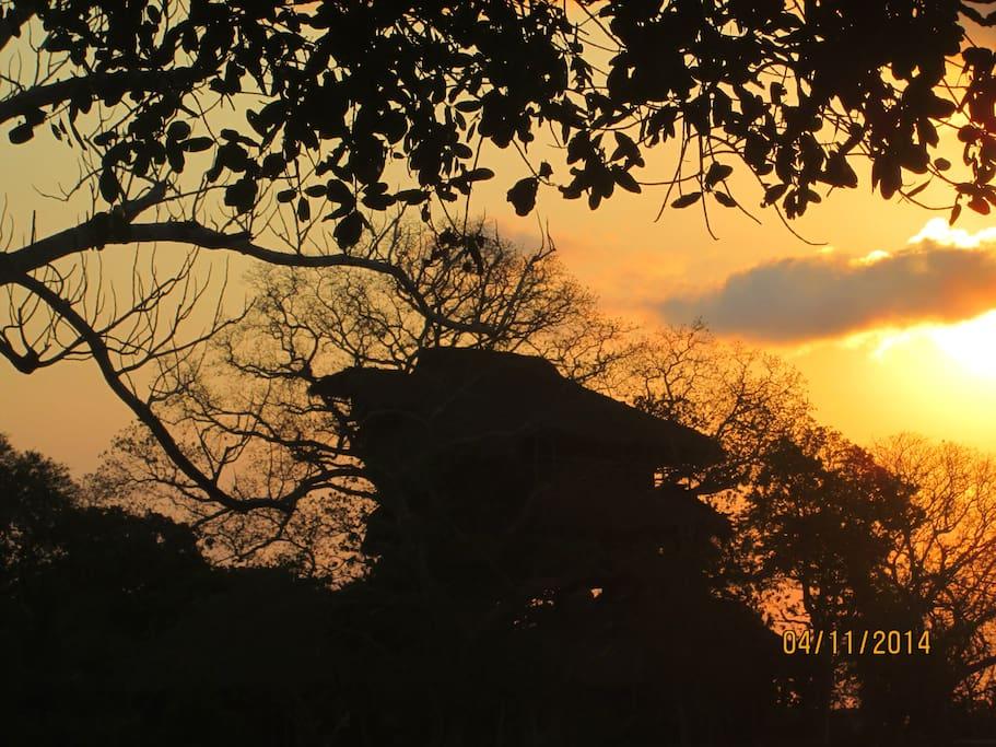 Au coucher du soleil.