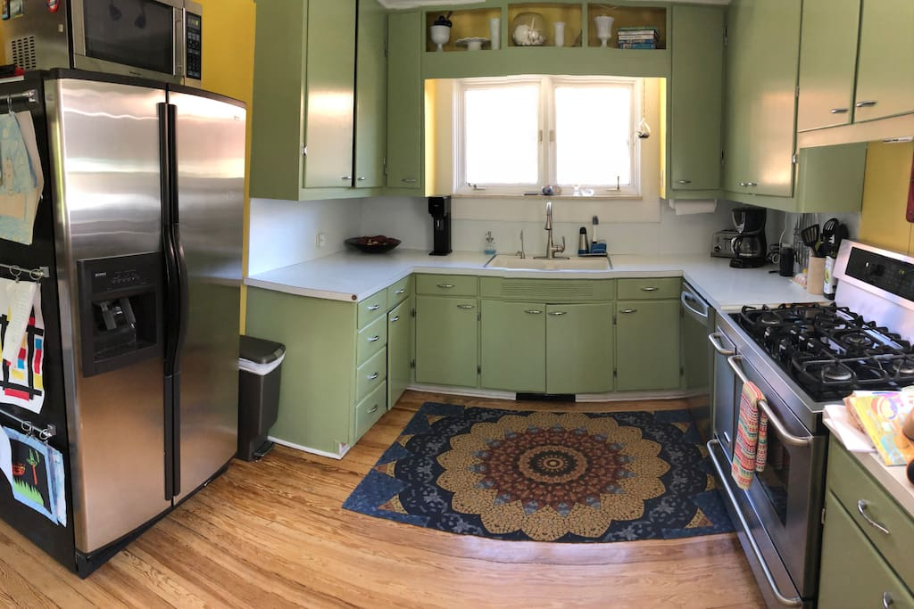 Our kitchen is clean, bright and filled with everything you need to make a simple snack or gourmet meal.