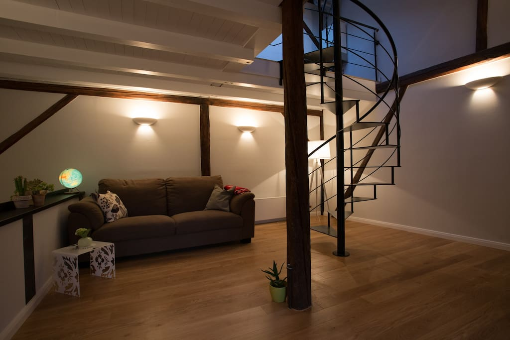 Open beams in the living room