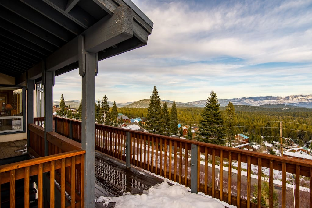 Take in the mountains from your deck before you head out to explore them.