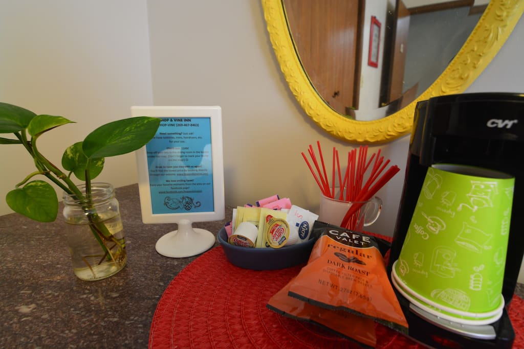 In-room coffee, in case you want a hot cup before grabbing your free hot breakfast in our guest dining room.