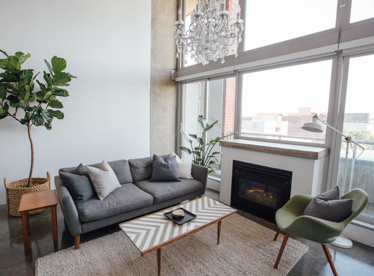 Modern style. Locally sourced furniture.   A gas fireplace provides all the heat you'll need in the cooler months.