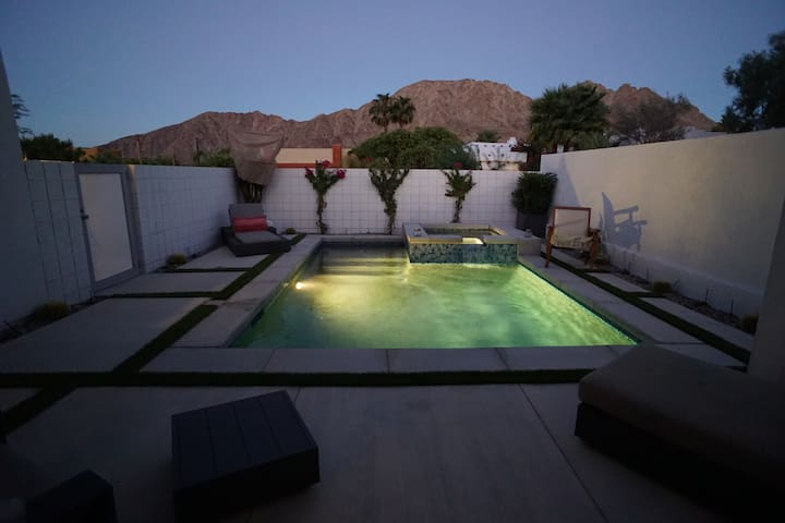 View of salt water pool and hot tub