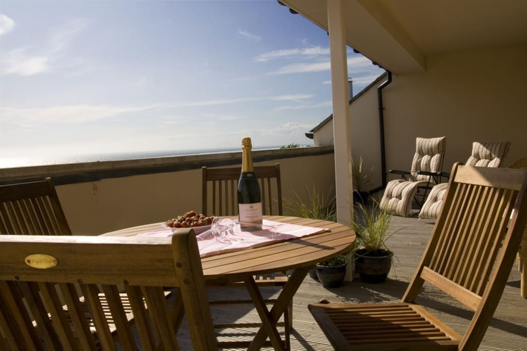 Large sunny balcony with amazing sea views and magnificent sunsets