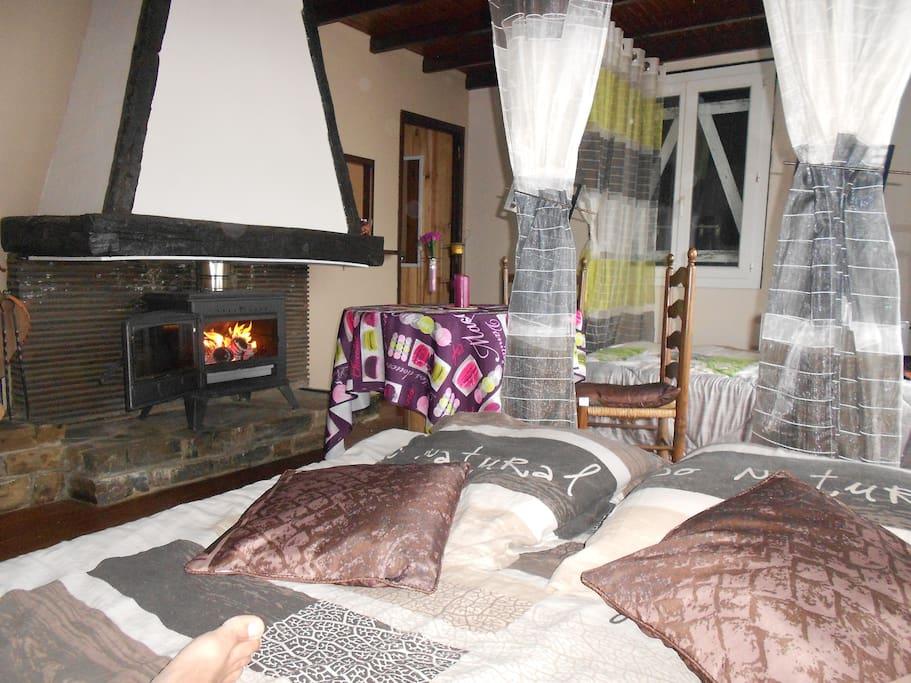 Salon comprenant un coin repas et un lit double