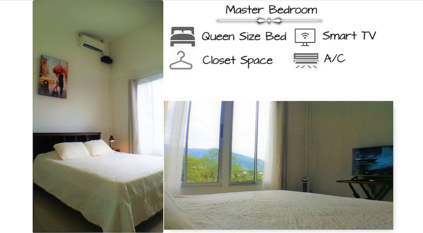 Fully equipped Master bedroom with a view