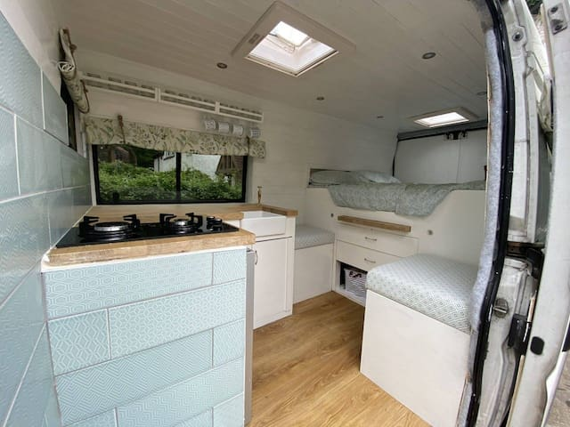 Cosy Chic Camper Van with Wood Burning Stove