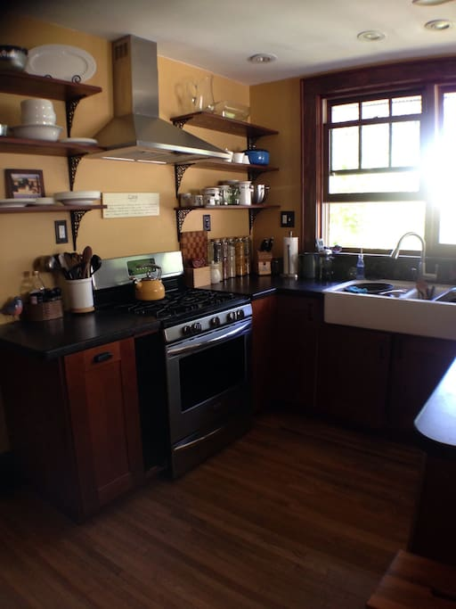 Sunny kitchen- accessible to cook in when we are home
