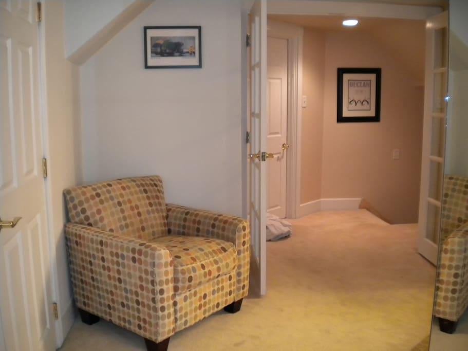 cozy chair in master bedroom