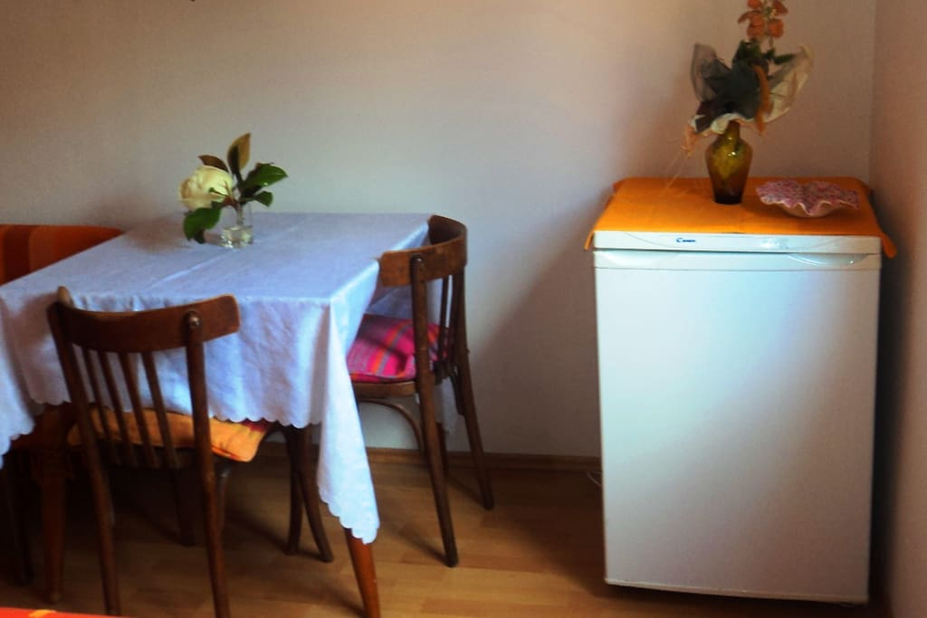 Fridge and dinning table