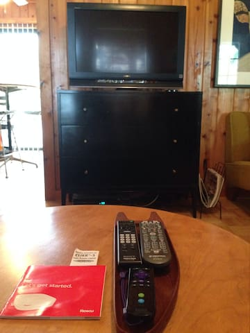 Indoor entertainment includes cable television and Roku access to Netflix and other channels.  Paul McCobb chest contains CDs and DVDs for your enjoyment.