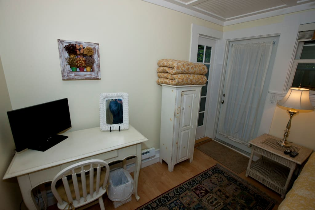 Desk, Television, and Storage