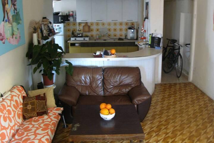 salon with kitchen