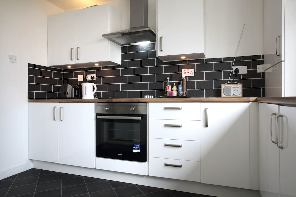 New fitted kitchen.  Oven and cooker